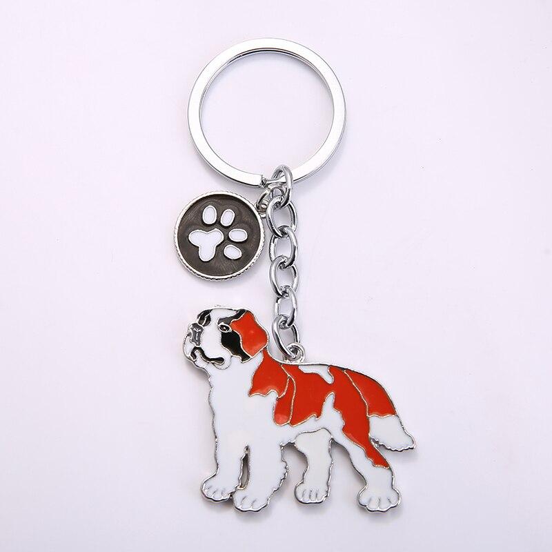 Moda cão jóias saint bernard corrente chaveiro presente para as mulheres menina saco charme chaveiro animal pingente jóias