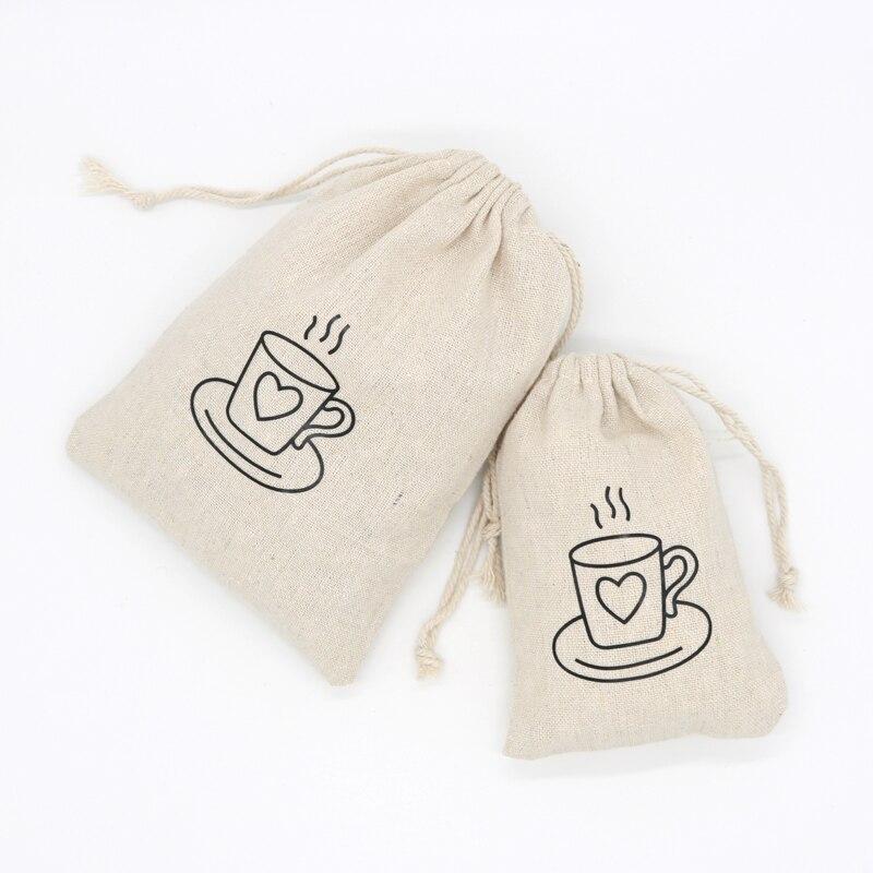 Bolsa de lona de algodón 10x14cm 13x18cm 15x20cm 1 Uds. Bolsa de joyas de embalaje de frutas secas con cordón de tela, bolsa de muselina de algodón