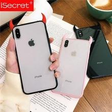 ISecret Mignon Corne De Diable Pour iPhone XS Max XR XS 6 6S 7 8 Plus De Protection Complet Acrylique Téléphone Couverture Arrière Cas Cadeau