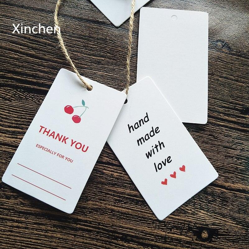 "100 unids/lote 2 diseños de etiquetas de papel rectangulares blancas ""thank you"" ""hecho a mano con amor"" etiqueta colgante de regalo 4.5x7.5cm Insumos para envolver regalos"