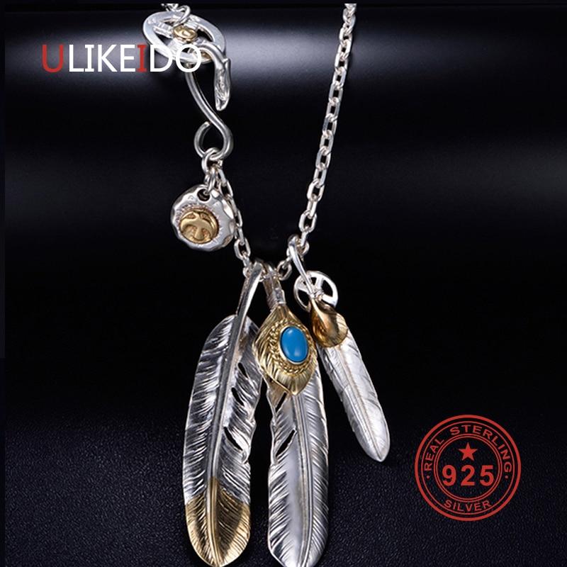قلادة من الفضة الإسترليني عيار 925 للرجال ، دلايات عتيقة ، تاكاهاشي غوروس ، سلسلة ريشة النسر ، مجوهرات شعبية جديدة ، P1022