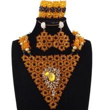 4UJewelry Dubai Gold Yellow Black Jewellery Crystal Beaded Bridal Jewelry Set African Wedding Bracelet Earrings Necklace Set