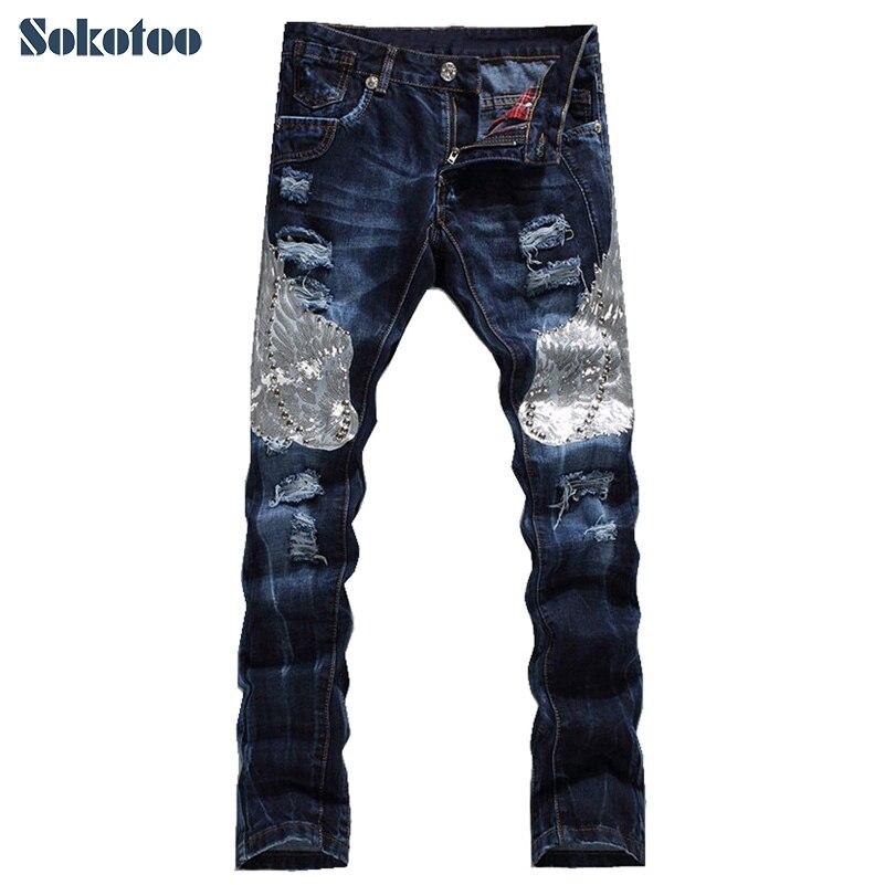 Sokotoo, pantalones vaqueros bordados con alas de águila a la moda para hombre, pantalones vaqueros rasgados con agujeros casuales para hombre, Pantalones rectos ajustados, envío gratis