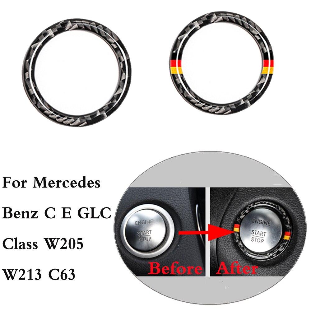 Para Mercedes Benz C E Classe GLC W205 W213 C63 Parada Partida Do Motor Do Carro do Anel Chave de Ignição De Fibra De Carbono Guarnição acessórios interiores
