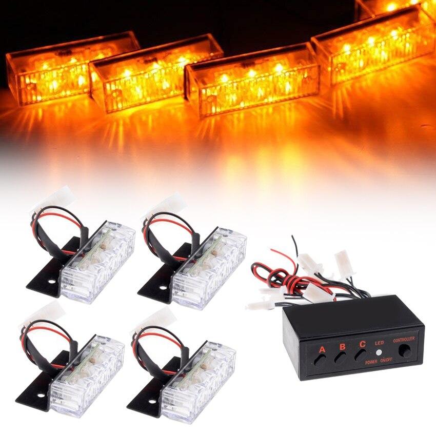 Rejilla LED 4x3 para coche, luz estroboscópica para camión, flash de advertencia, rejilla de emergencia para parachoques delantero, barra de luz de conducción, bombero de policía