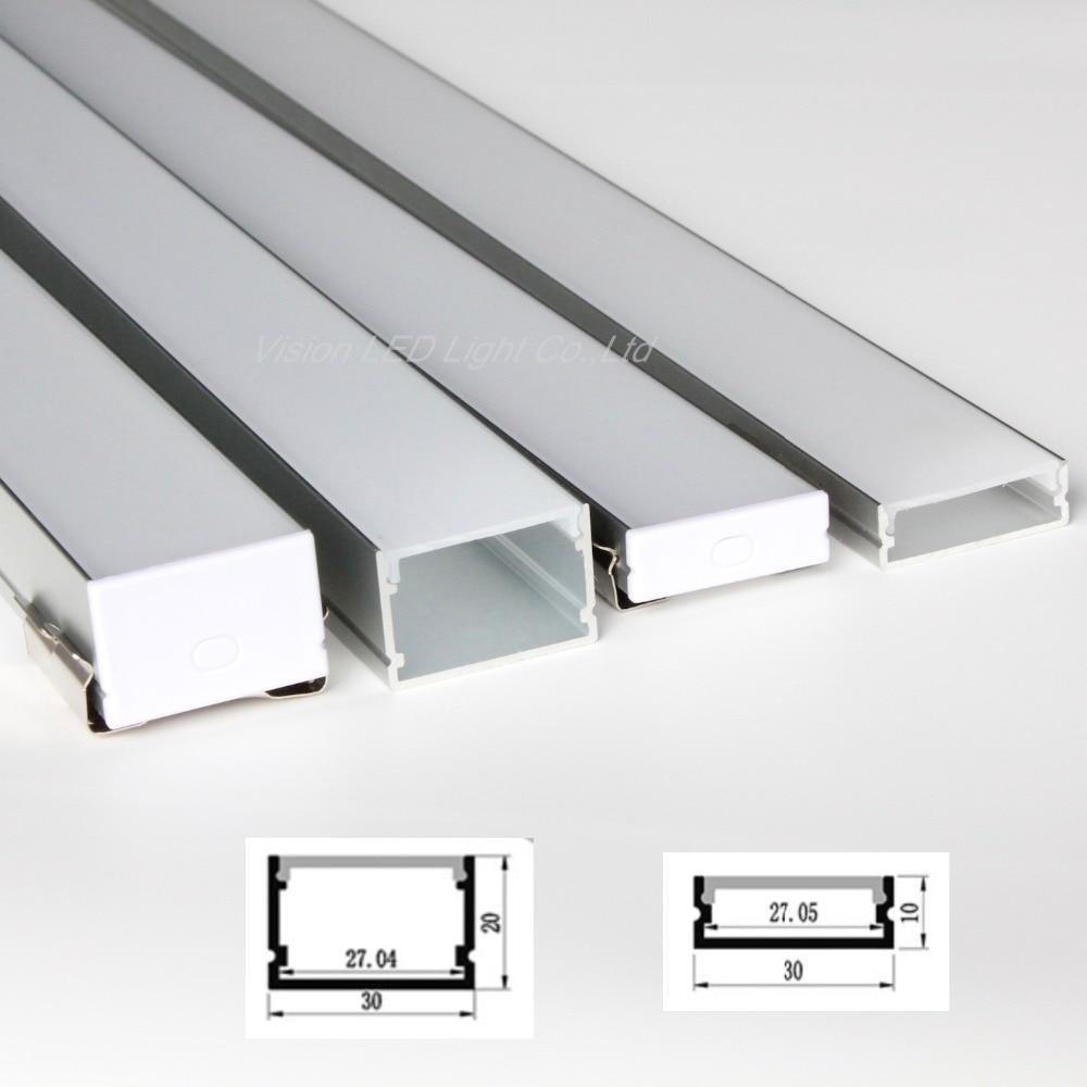 20m (20 piezas) un lote 1m por pieza de perfil de aluminio para led doble fila tiras dos filas led tiras de luz 5050, 3528, 2835, 5630