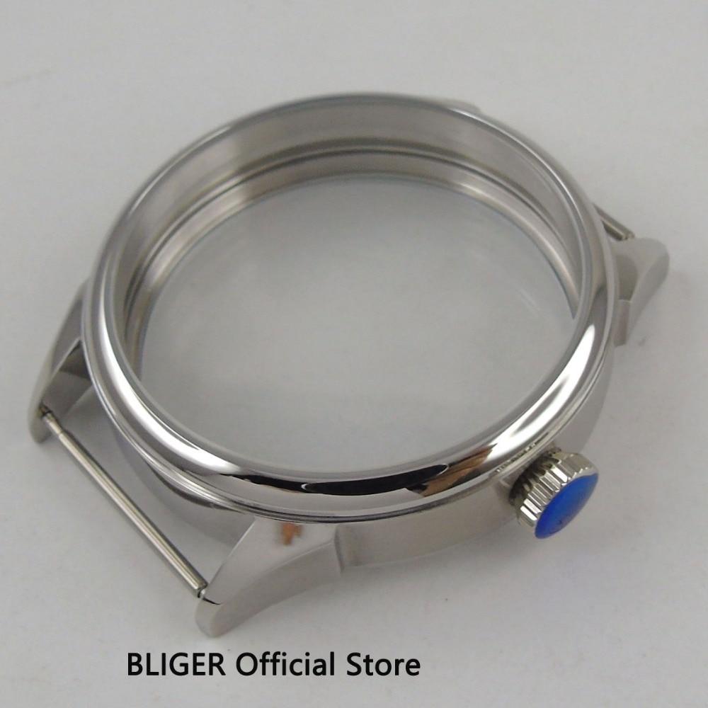 Caja de reloj de acero inoxidable pulido de 42MM, compatible con ETA 6498 6497, movimiento de bobinado manual