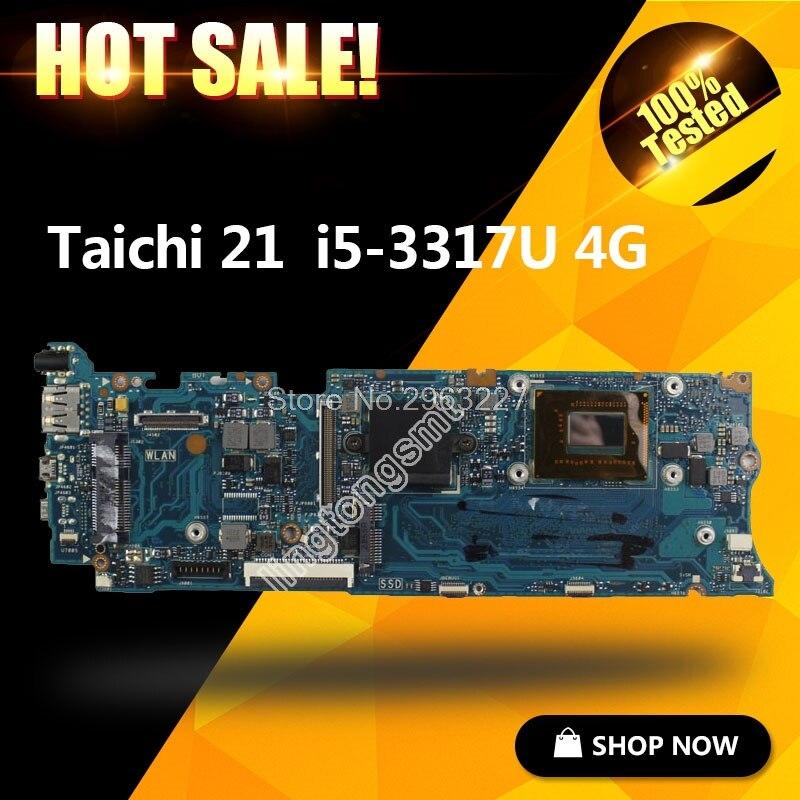 Para ASUS Taichi21 con i5-3337u CPU Laptop Motherboard 90R-NTFMB1500Y/ 60-NTFMB1501 Mainboard 100% totalmente probado TAICHI21A
