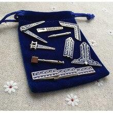 Petite taille 9 différents outils de travail maçonnique classique Miniature franc-maçon broche cadeaux Fine artisanat travail pour maçons avec sac en tissu