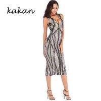 kakan 2019 summer new womens sequin dress sexy deep v neck stretch sleeveless dress club party gold black dress