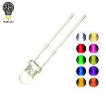 100 pièces 3MM diode LED Kit 3V bricolage ensemble lumière émettant chaud blanc vert rouge bleu jaune Orange violet UV rose Ultra lumineux 20mA