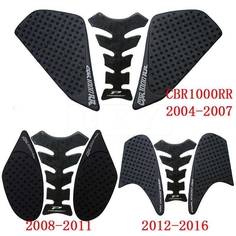 Para Honda CBR1000RR 2004 2005 2006 2007 a 2016 CBR 1000RR CBR 1000 RR tanque de fibra antideslizante almohadilla para depósito adhesivo 3M de tracción lateral