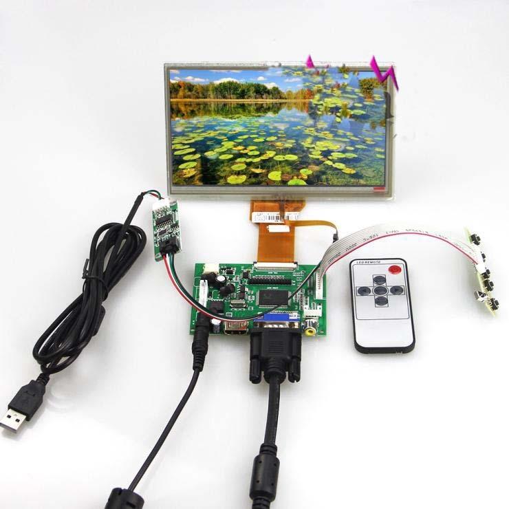 Para Raspberry Pi HDMI + VGA + AV + Tarjeta de controlador + pantalla táctil + 7 pulgadas AT070TN90 AT070TN92 800x480 longitud 80,15mm panel de pantalla LCD