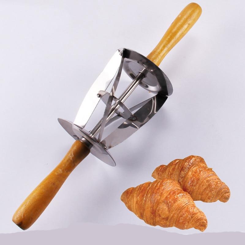 Con mango de madera, acero inoxidable, triangular, cortador de masa rodante para hacer Croissant Triangle Rolling Knife para medialunas pan
