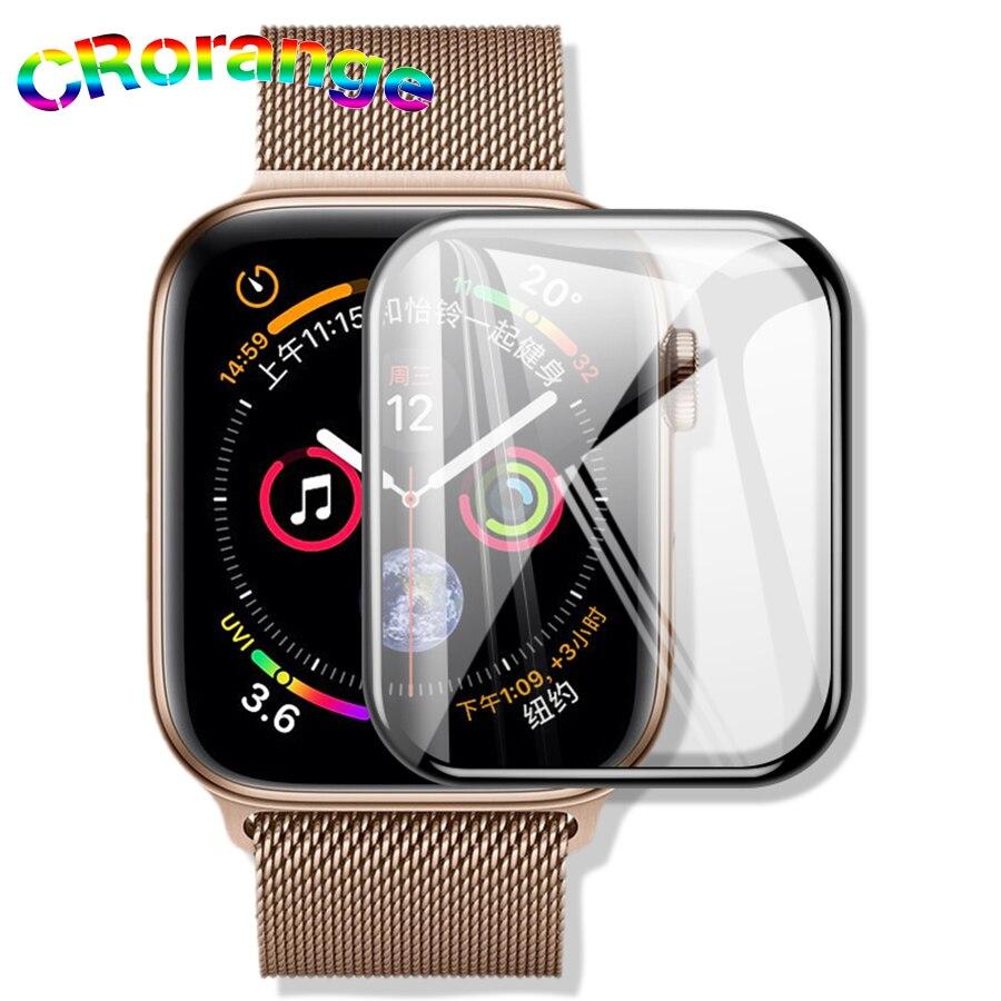 CR pegamento total protector de pantalla de vidrio templado para Apple watch 1234 Borde de adsorción de cubierta completa evitar explosión de alta definición