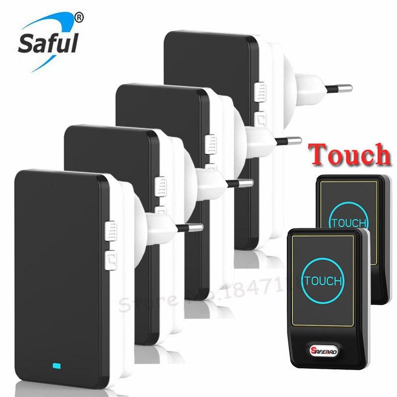 Sensor táctil EU/US Plug-in timbre con batería inalámbrica a prueba de agua Control remoto MP3 timbres eléctricos 2 botones + 4 receptores