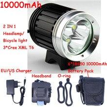 2019 Cycling lights 4000 Lumens 3x  XM-L T6 LED Headlight 3T6 Headlamp Bicycle Bike Light Waterproof  Battery Pack