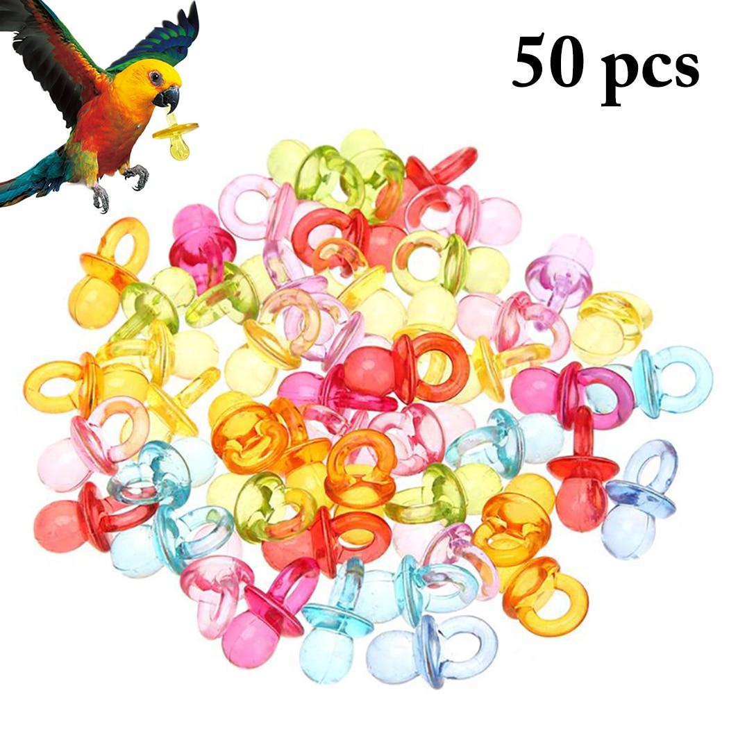 50PCS Bird Toy Nipple Shape Parrot Chew Pet Teething Small Bite Resistant Plastic DIY Multicolor Supplies