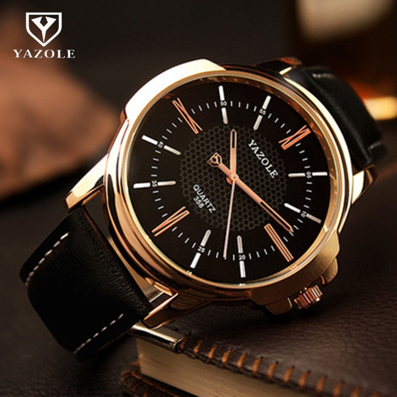 Navio da gota yazole relógios masculinos de vidro azul relógio masculino à prova dwaterproof água moda couro romano relógio de pulso de luxo relogio masculino