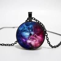 fashion 3 color pendant necklace warm wolf glass cabochon chain necklace women friend gift