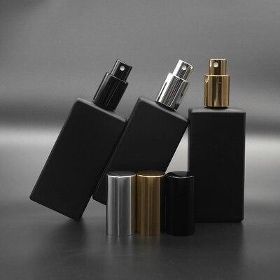 Dh livre 30 pçs 50ml de vidro preto perfume spray garrafa fina névoa pulverizador pacote de 3 óleo essencial perfume químico atomizador recipiente