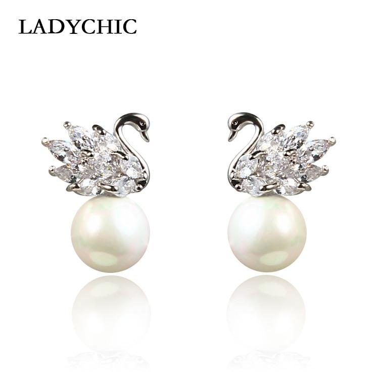 Ladychic bonito elegante prata cor swan brincos para mulheres adorável pérola brinco moda jóias presentes de aniversário le1374