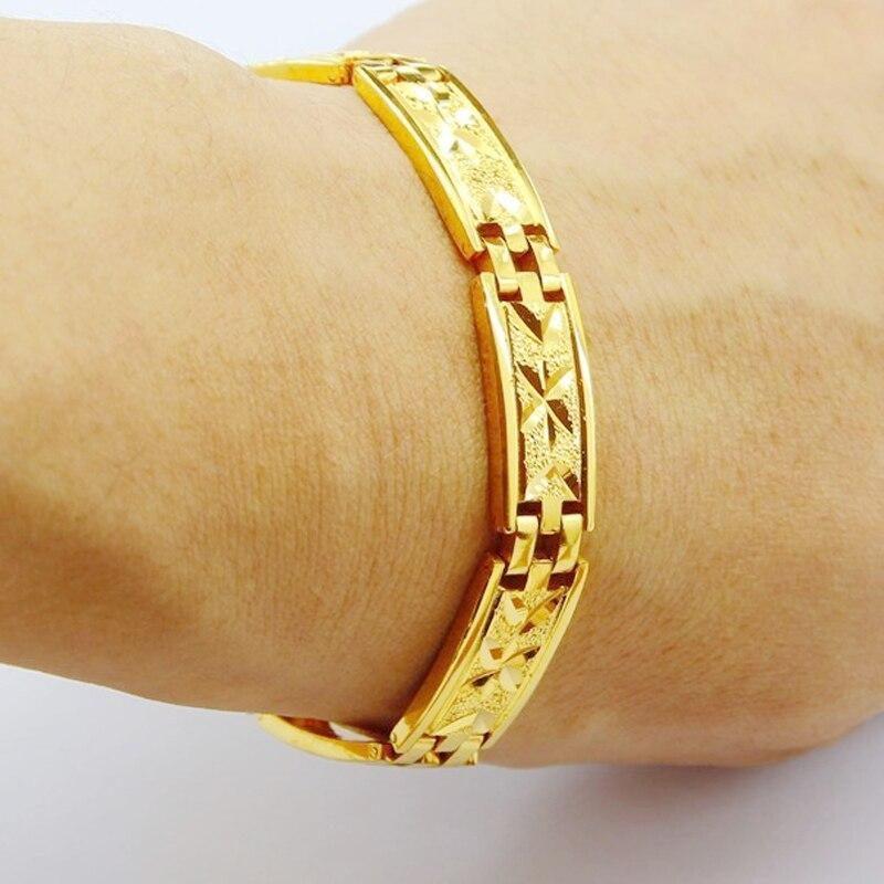 Atacado 24k ouro gp 12mm relógio masculino cinto forma pulseira 20cm. moda ouro cor masculino jóias pulseira