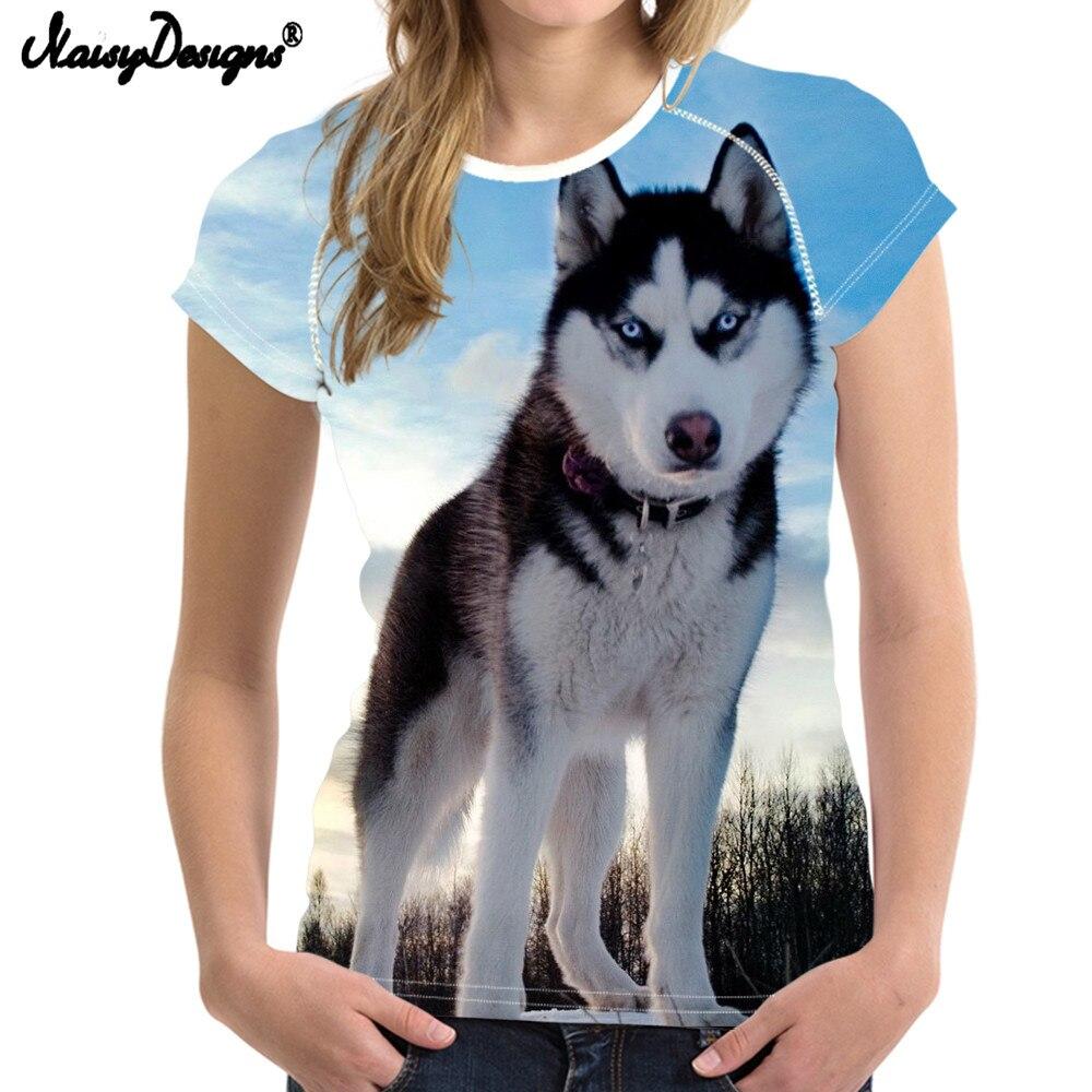 Camiseta NoisyDesigns Husky para mujer, camiseta divertida para perros, camiseta de verano para cachorros, camiseta de culturismo para mujer, ropa superior hawaiana