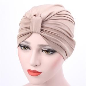 Hijab Turbans for Women Solid Color Turban Headband Hat Muslim Hijab Headwrap Fashion Chemo Hats Ladies Knot Hijab Caps