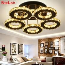 5 anneaux Cristal Led lustres plafond miroir acier inoxydable Lustre Cristal pour étude de cuisine Luminarias Para Teto luminaires