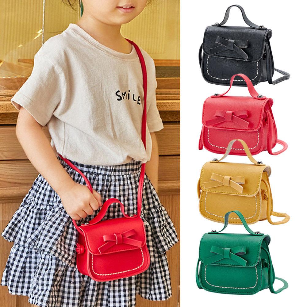 Сумка мессенджер для маленьких девочек однотонная сумка на плечо с бантом