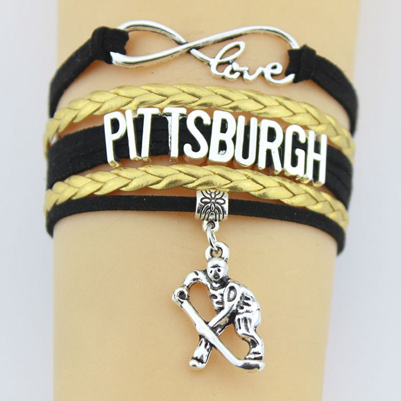 10pcs/Lot Infinity Love Pittsburgh Bracelets Hockey Chram Handmade Braided Leather Bracelets For Women Men Jewelry