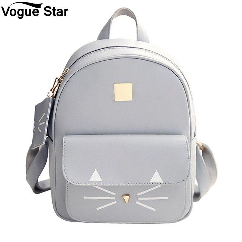 Mochila feminina escolar de couro pu, bolsa menina adolescente com estampa de gato
