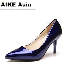 2019 femmes chaudes chaussures bout pointu pompes en cuir verni robe talons hauts bateau chaussures chaussures de mariage Zapatos Mujer bleu sexy