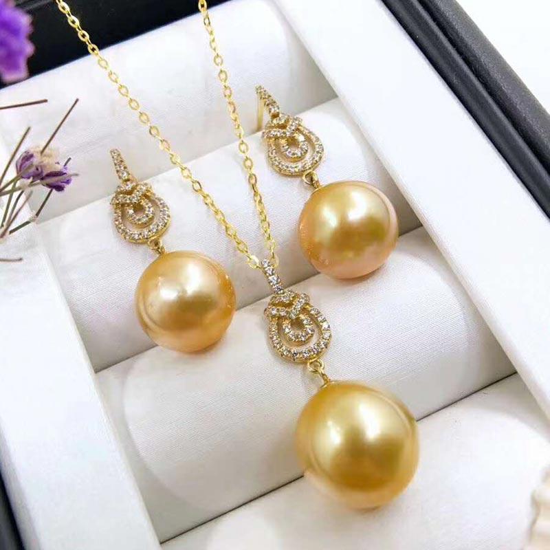 Xin yi peng 18 real k ouro incrustada de pérolas naturais rodada brincos de pingente feminino terno para as mulheres de jóias finas terno AU750