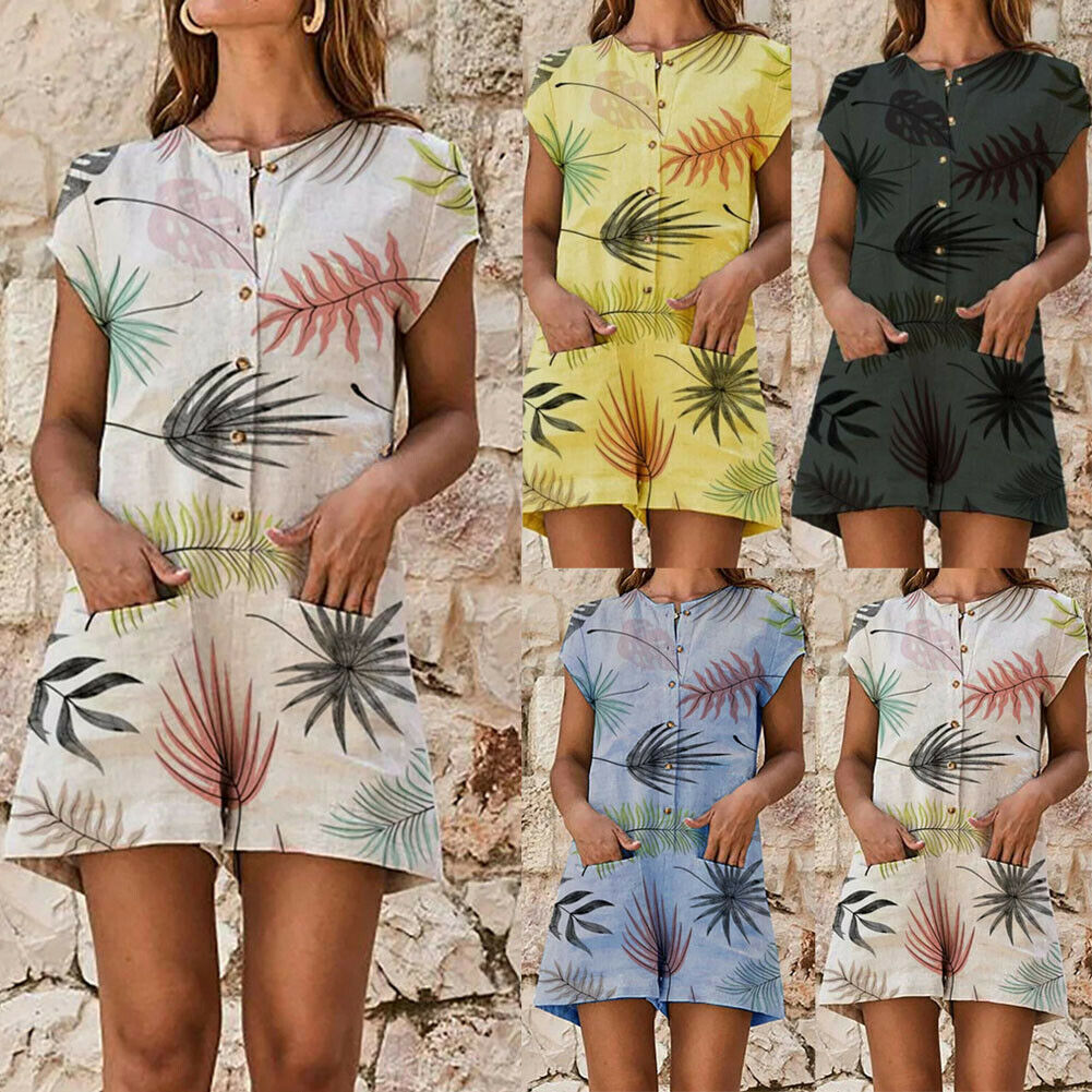 Women Summer Casual Short Sleeve Playsuit Plus Size Ladies Floral Print Mini Jumpsuit Beach Club Party Romper Overalls 2019 women fashion boho o neck halter mini romper casual female playsuit floral print knotted design romper