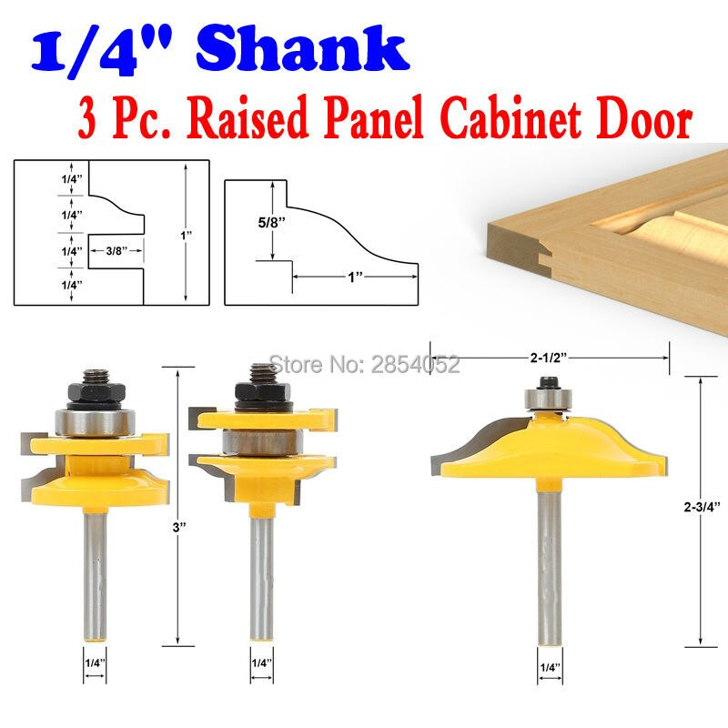 "Conjunto de bits do roteador da porta do armário do painel levantado-3 bit ogee-1/4 ""cortador do tenon do cortador do woodworking da pata para a ferramenta do woodworking"
