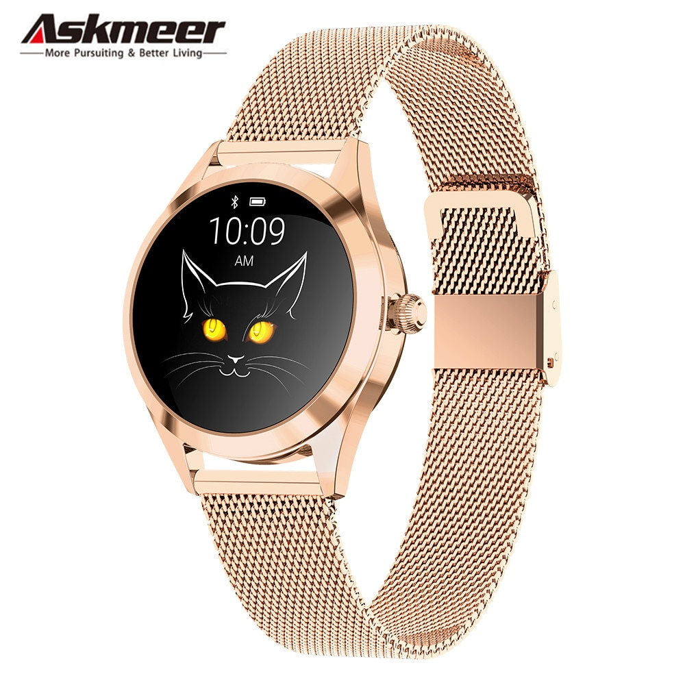 Reloj inteligente de moda Askmeer KW10 pulsera impermeable para mujer Monitor de ritmo cardíaco durante el sueño reloj inteligente para mujer para IOS Android PK S3 Band