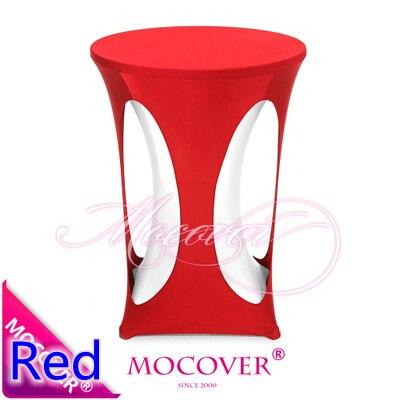 Cubierta de LICRA de color rojo con diseño de alta Mesa de bar cubierta de lycra para decoración de mesa de cóctel y banquete de boda