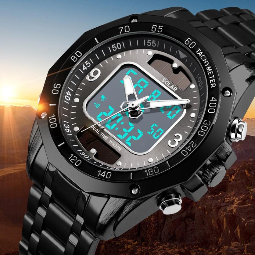 Top Luxury Brand Solar Mens Watches Men Sports Watches Men's Quartz LED Digital Full Steel Men Military Wrist Watch Clock Male