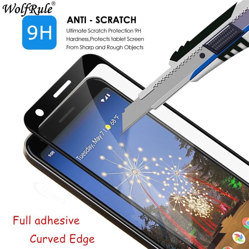 Pegamento completo curvado vidrio templado para Google Pixel 3a curvo Protector de pantalla 3D película de teléfono para Pixel 3a vidrio G020A G020E G020B