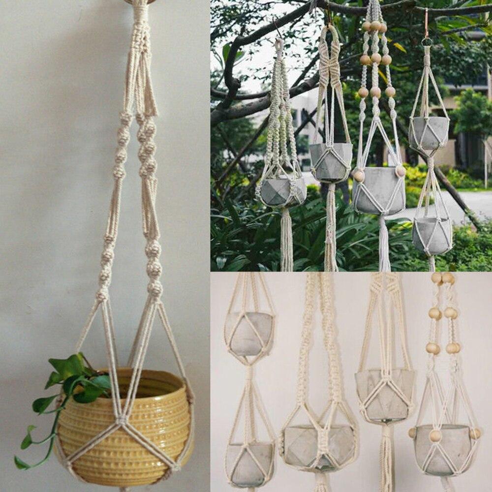 New Pot Holder Macrame Plant Hanger Hanging Planter Basket Jute Rope Braided Craft