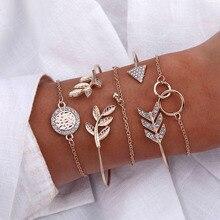 Vintage Gold Color Bracelets & Bangles 2019 For Women Bohemia Heart Moon Star Adjustable Bracelet Set Female Fashion Jewelry