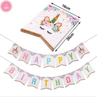 1set pink gillter unicorn banner birthday party decors paper garland happy birthday decorations kids party supplies