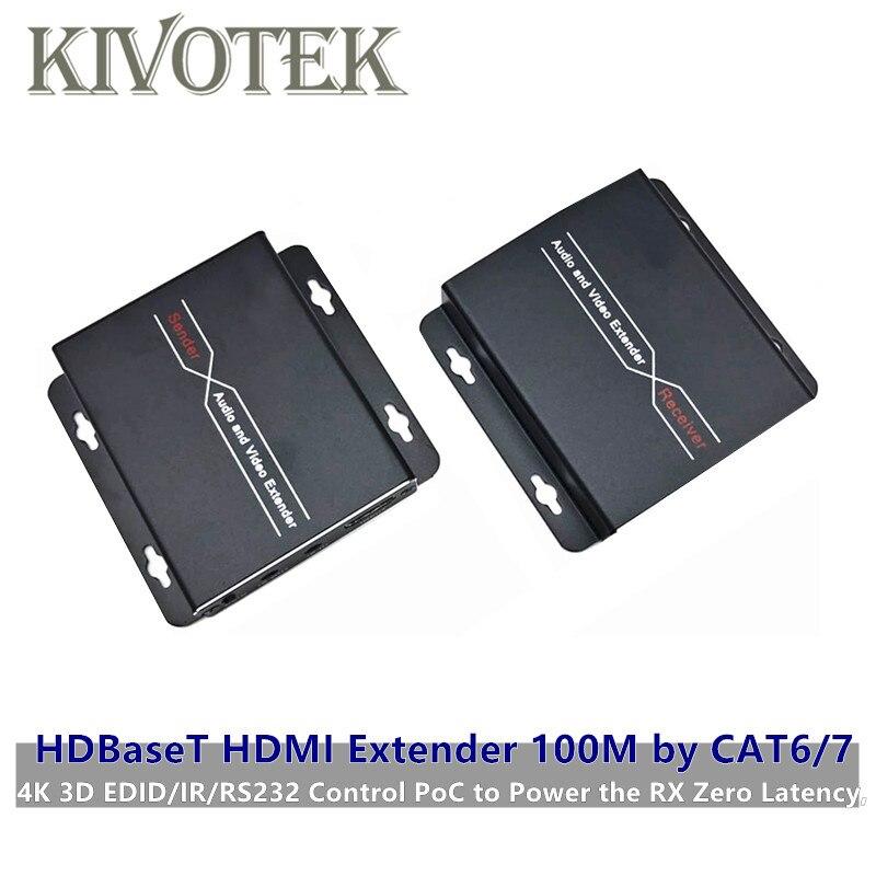 HDBaseT HDMI Genişletici 100M CAT6/7 Kablo Adaptörü 4K 3D EDID/IR/RS232 Kontrol poC Güç en RX Sıfır Gecikme Ücretsiz Kargo