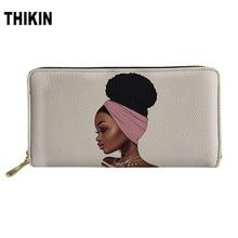 THIKIN Art Afro Girl Print Womens Wallet Personalized Zipper PU Clutch Kawaii Portfel Portable Bag Ladies Money Coin Long Purse