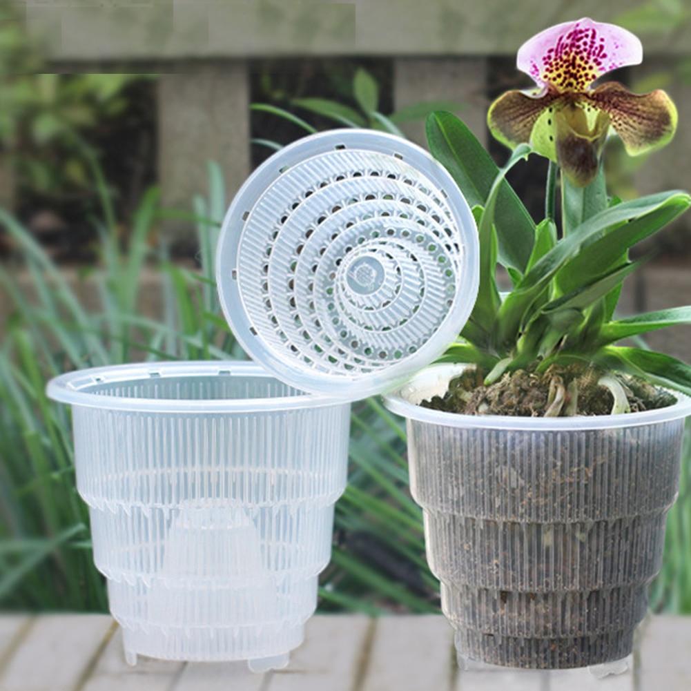 Суккулент Настольный садовый прочный Орхидея Fleshy Плантатор Контейнер украшение с отверстиями для дома PP Прозрачный цветочный горшок сетка подарки