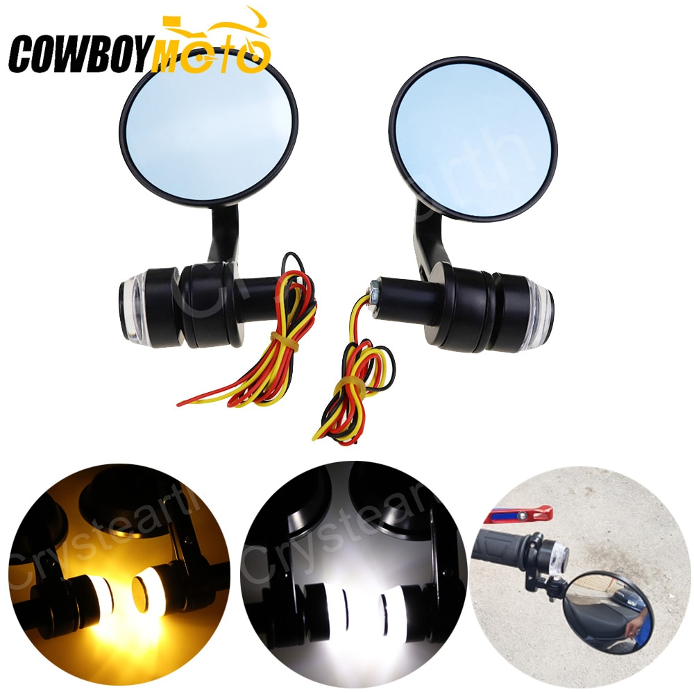 "Alrededor de 7/8 ""Retrovisor para motocicleta espejos moto de la barra de la manija trasera espejos con LED señales de giro negro Cafe Racer espejo"