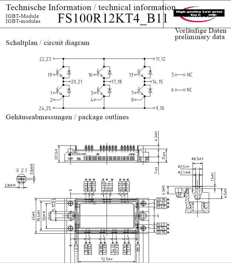 Бесплатная доставка, новый модуль FS100R12KT4 _ B11 FS100R12KT4-B11 FS100R12KT4 B11