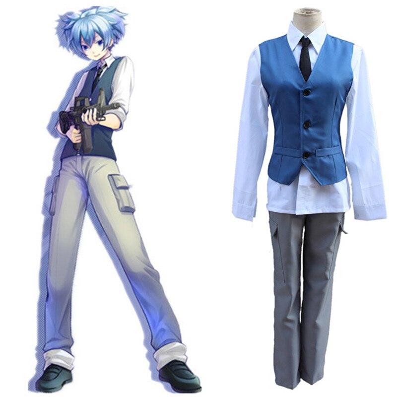 Traje de Cosplay uniforme escolar Shiota Nagisa de clase de asesinato de Anime japonés chaleco + camisa + Pantalones + corbata 4 piezas conjunto